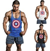 Wholesale Captain America Gym Clothing Cotton Men Tank Top Singlets Bodybuilding Vest Exercise Fitness Wear Sleeveless Shirts Stringer TShirt Free DHL