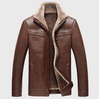 pelle pelle jackets - Fall Fleece Winter Leather Jackets for Men Cazadoras Hombre Cuero Kaban Giacca Pelle Uomo Mens Fur Lined Jacket Coats Overcoat
