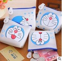 Wholesale Cute Birthday Doraemon - Wholesale-Cute Cartoon Doraemon Jelly Silicone Coin Purse Key Wallet Mini Storage Organizer Bag Novelty Birthday Gift