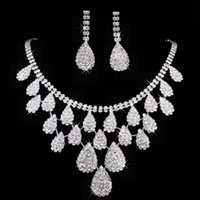 Wholesale Wedding Jewelry Sets Silver Artificial Pearl Rhinestone Crystal Bridal Dress Accessories Necklace Earrings Set Simple Style Shining Jewelry