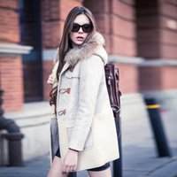 wool fabric coat - Coats For Women Women Winter Fashion Patchwork Md Long Big Fur Collar Hooded Big Size Casual Suede Fabric Lamb Wool Coat LJ1223