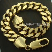 B147 18 quilates de oro amarillo GF cadena de anillos de bordillos enlace para hombre sólidas para mujer joyas pulsera brazalete