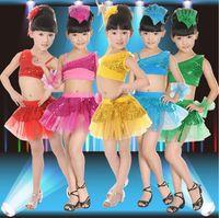 best latin - 2015 hot children girl latin dance dresses fashion sequins kids girl latin Ballroom Dress Modern Performance Wear factory price best quality