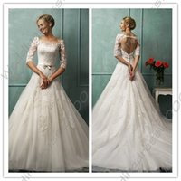 Wholesale A Line Sheer Neck Sexy Open Back Lace Wedding Dresses with Half Sleeves Bridal Gowns Court Train Custom Wedding Gowns