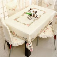 Wholesale Countryside style satin with embroidery lace work table cloth chair cover TV cover