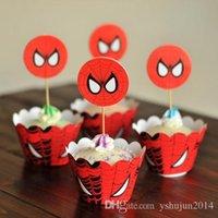 Wholesale Cartoon Cupcake Wrappers Superman Batman Captain America CupCake Toppers Picks Kids Birthday upplies Party Favors