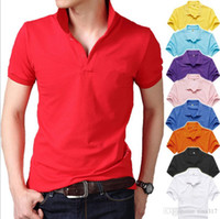 Wholesale Pure color collar short sleeve T shirt overalls T shirts men unlined upper garment of cotton qualitative big yards T shirt