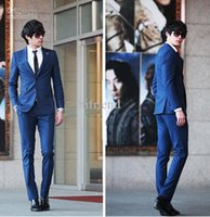 Wholesale custom made men s suits button wool blue silm fit men s suit grooms suits wedding suits Bridegroom A107
