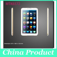 Wholesale 9Inch MTK6572 Phablet Android x600 G Phone Call Dual Core Dual Sim GPS Wifi Bluetooth White with gold edge