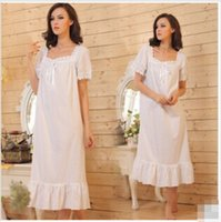 Wholesale Popular brand summer autumn white pure cotton casual long nightgown big yards natural soft comfortable sleepwear homewear