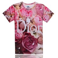 cotton polyester shirts - New Fashion D shorts sleeve t shirts Rose Pattern Women Men t shirts Cotton and Polyester