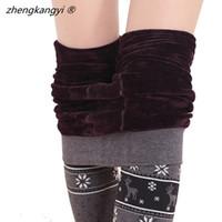 Wholesale Winter Women Casual Deer Thick Fleece Leggings Fashion Mid Waist Inverno Femme Good Quality Leggins