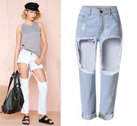 big bottom jeans - Big holes in thighs loose straight boyfriend jeans midnight high waisted ankle length fashion bottoms up denim jeans distressed
