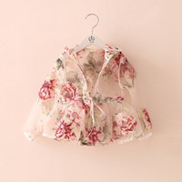 air conditioned coat - Wholesales new Kids Clothes girls long for summer organza lace print floral sunscreen coat girls princess air conditioning shirt LL