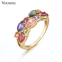 Wholesale Luxury K Plating Band Design Clear and Multicolor Cubic Zirconia A Crystal Rings for Women VR Vocheng Jewelry