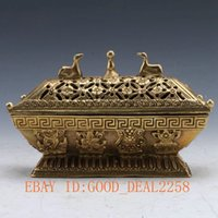 ancient chinese scrolls - Chinese Ancient Brass Handwork Carved Hollow flower Incense Burners Lid