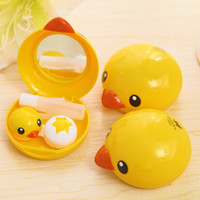 Wholesale pieces Korean Cute Yellow Duck Contact Lens Box lovely Cosmetic Contact Lenses Tool With Mirror Companion Cassette