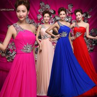 Wholesale Bridesmaid Dresses One Shoulder Zipper Chiffon Floor length Column Sleeveless Formal Wedding Party Evening Prom Gowns LC7