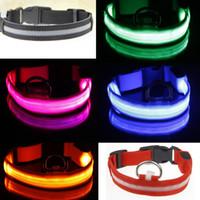 led flashing dog collar - New Pets Safety Nylon Dog Collar LED Glow Flashing Light LED Light Flashing Pet Dog Collar Night Safety Cat Leash VE458