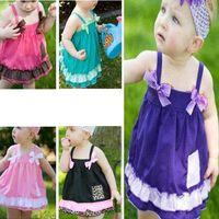 al por mayor volantes de pañales-0-3Y Bebé Niños Tops Vestido Set Ruffled Bloomers Nappy Cover