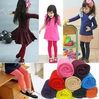 Wholesale 2015 Autumn winter girls leggings candy color velvet pants leggings girls warm leggings in stock