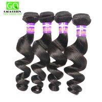 7A sueltan el pelo de la onda teje virginal peruano 4 paquetes Extensiones sin procesar del pelo humano Trama doble Color negro Gaga Reina Hair Dyeable
