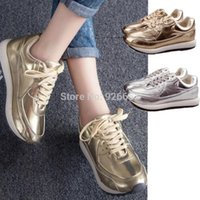 lady leisure shoes - New Women Korean Sports Running Shoes Lady Thick Bottom Leisure Trainer Shoes Golden Silve Sneakers Eur Wholesales