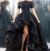 Wholesale 2016 Off the Shoulder Black Lace Prom Party Dresses High Low Asymmetrical Short Sleeves Short Front Long Back Vestido De Festa