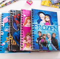 Wholesale DHL Student Notebook Frozen Elsa Anna Princess Spiderman Notepad Student Diary Book CM Cartoon Hard Cover Christmas Toy