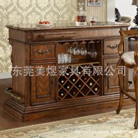 bar furniture home set - American country furniture table home wooden marble bar top European civilian wine Cabinet