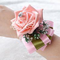 purple wedding decorations - Red White Purple Pink Blue Wedding Wrist Flower Hand Made Artificial Rose Bouquet Bride Bridesmaid Bridal Decoration Accessories WF039