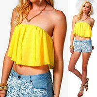Cheap Wholesale-New Strapless Tube Top Fashion Sexy Backless Yellow Corset Plus Size S-xl Crop Top Wrapped Chest Free Shipping