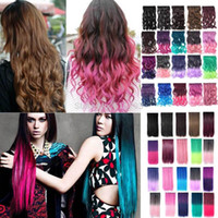 Wholesale New Fashion Curly Wavy Full Head Clip in Hair Extensions One Piece Clips A2 Christmas Multi color