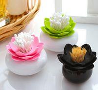 Wholesale Beauty Lotus Cotton Swab Box Lotus Cotton Bud Holder Base Rom Decorate Lotus Toothpicks Holder Toothpick Case FG08160