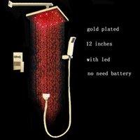 Wholesale gold color brass shower set inches lever led rain shower gold bath faucet mixer
