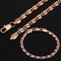 18k oro al por mayor-Fashion CARACOL collar de cadena mujeres señoras de la cadena de regalos niñas collar GF Lleno (4.5mm) Pulsera (5mm) DLGS182 Conjunto de joyas