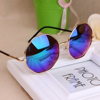 amber oval - 2015 Summer Retro Round Sunglasses Fashion Octagonal Diamond Circular Metal Sun Glasses for Man and Women