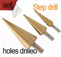 Wholesale New steps HSS Steel Large Cone Drill Bit Set Hole Cut mm step drill Hot Freeshipping