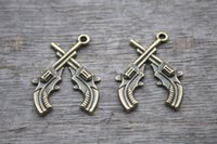antique handguns - 12pcs Gun Charms Antique Bronze Double Gun Revolver Handgun Charm pendants x24mm