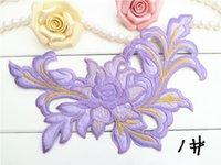 Wholesale Multicolor Applique Patches daffodils venice embroidery lace applique Clothes bag decorative supplies iron on patch22cm cm