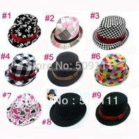 Wholesale Kids Gangster stripe hats trilby hat Boys girls fedora hats jazz cap child cowboy dicer BH082