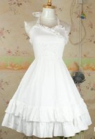 best female costumes - Sweet Lolita Sleeveless Cotton White Dream Lady Ruffles Dress Best Quality With Customize
