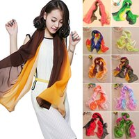 Wholesale Mixed color Womens Lady Large Neck Scarf Chiffon Spliced Scarves Stole Wraps Pashmina Shawls