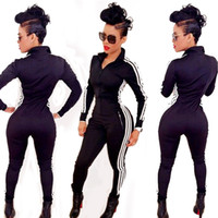 Wholesale Good Quality Jumpsuit New Autumn Winter Fashion Style All match Casual Sport Jumpsuits Womens Black Zipper Sportswear Rompers