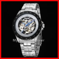 skeleton watches - 2016 High Quality Mens Watches Automatic Luxury Auto Mechanical Watches Mens Watches Stainless Steel Watch Numerals Analog Skeleton Watches