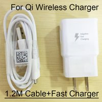 Wholesale Output V A Fast Adaptive Fast Charger EU US Travel Wall Plug For Galaxy S6 Edge Plus Note Qi Wireless Charger M USB Cable