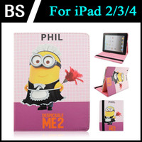 Wholesale Lovely Cartoon Character Despicable Me Minions Case Folding Stand Folio Leather Cover for iPad Inch cases