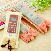 air conditioning wire - 2pcs brand new bow fabric remote control cover TV Air Condition Protector dust pink beige S M L