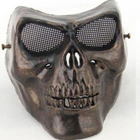 horror masks - Full face gold silver masquerade Airsoft mascara terror Skull mask Warrior armor carnival Paintball biker mask scary Halloween Horror Mask