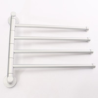 Wholesale 4 Swivel Bars Bathroom Aluminium Wall Towel Rack Holder Polished Hardware Storage Shelf Hotel Home Bathroom Decor